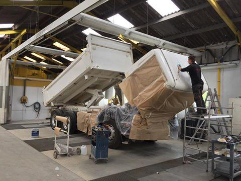 preparation peinture camion benne